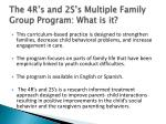 the 4r s and 2s s multiple family group program what is it