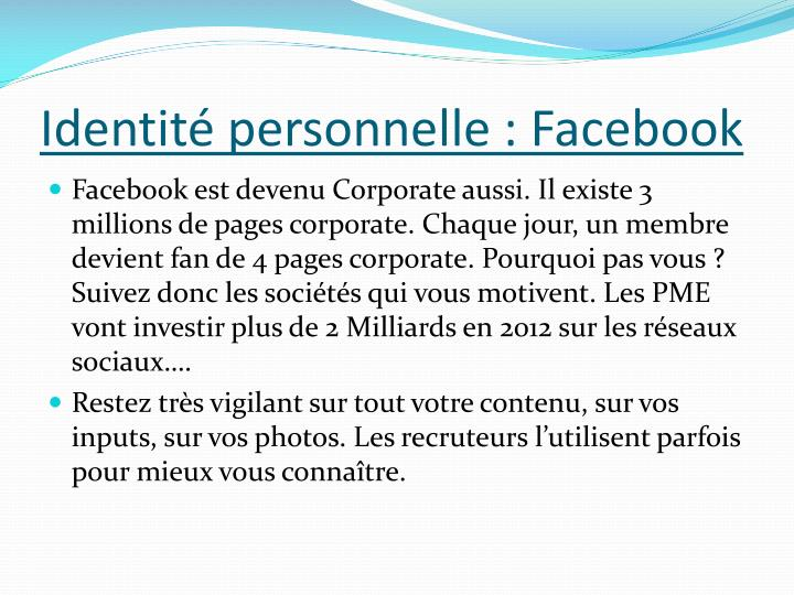 Identité personnelle : Facebook