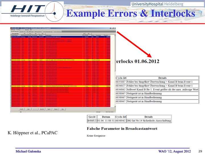 Example Errors & Interlocks