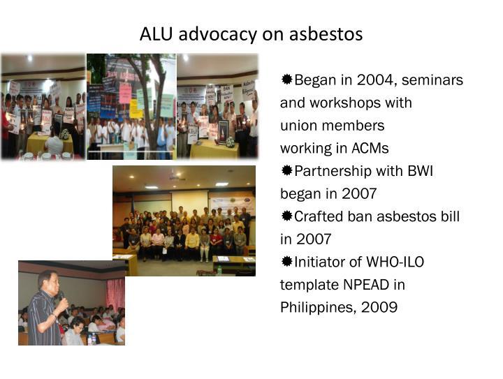 ALU advocacy on asbestos