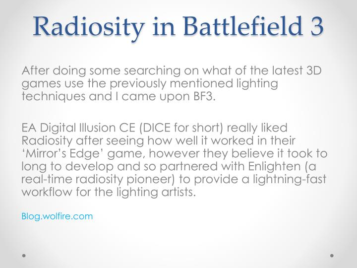 Radiosity in Battlefield 3