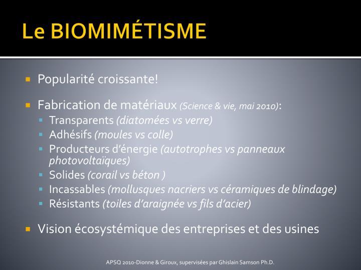 Le BIOMIMÉTISME