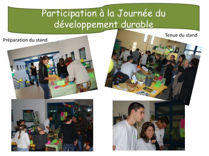 Participation à la Journée du développement durable