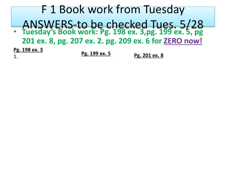F 1 Book work from Tuesday