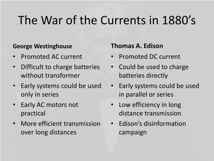 The War of the Currents in 1880's