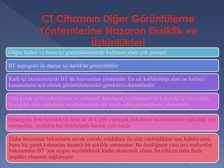 CT Cihazının Diğer Görüntüleme Yöntemlerine Nazaran Eksiklik ve Üstünlükleri