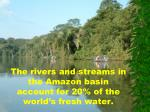 the rivers and streams in the amazon basin account for 20 of the world s fresh water