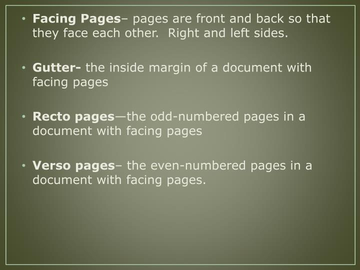 Facing Pages