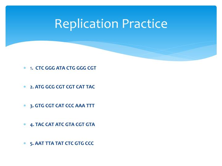 Replication Practice