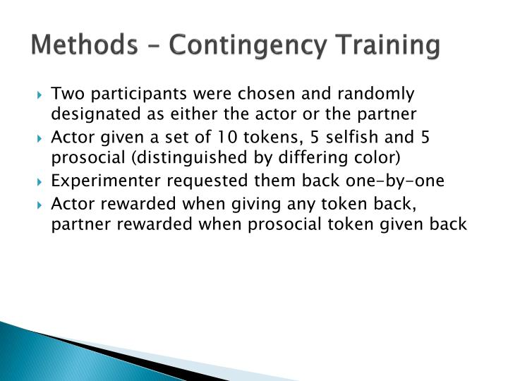 Methods – Contingency Training