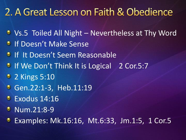 2 a great lesson on faith obedience