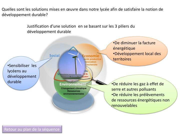 Quelles sont les solutions mises en œuvre dans notre lycée afin de satisfaire la notion de développement durable?