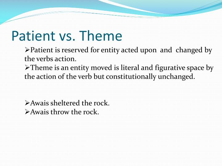 Patient vs. Theme