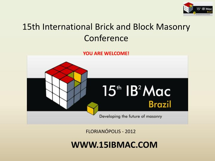 15th International Brick and Block Masonry