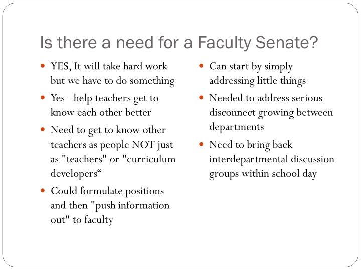 Is there a need for a Faculty Senate?
