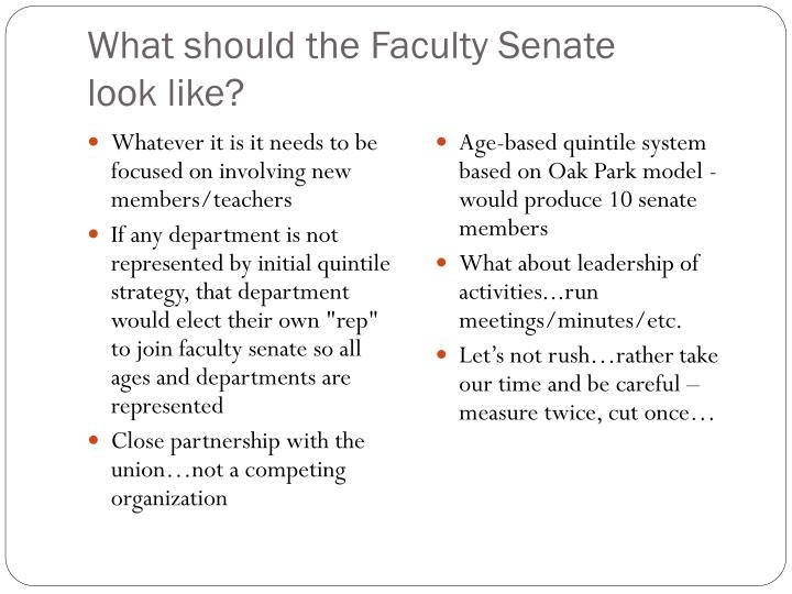 What should the Faculty Senate