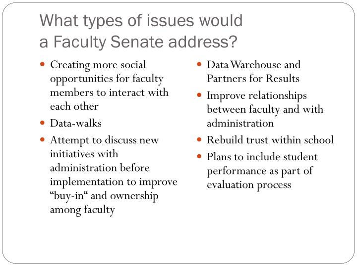 What types of issues would a faculty senate address