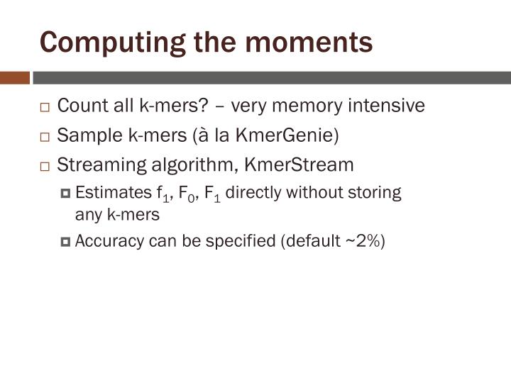Computing the moments