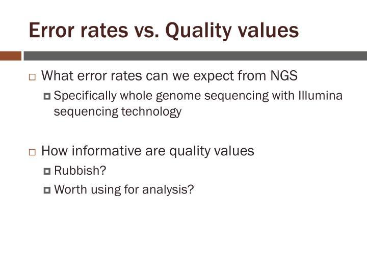 Error rates vs. Quality values