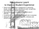 key lessons learnt to improve student experience
