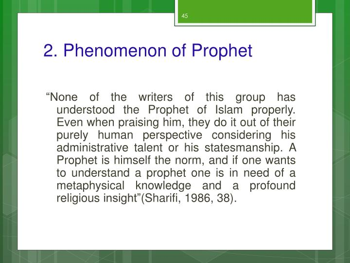 2. Phenomenon of Prophet