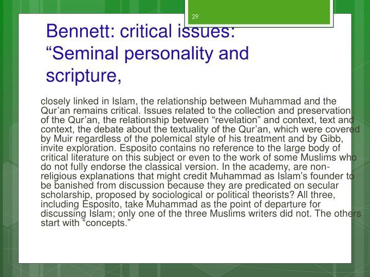Bennett: critical issues: