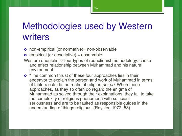 Methodologies used by Western writers