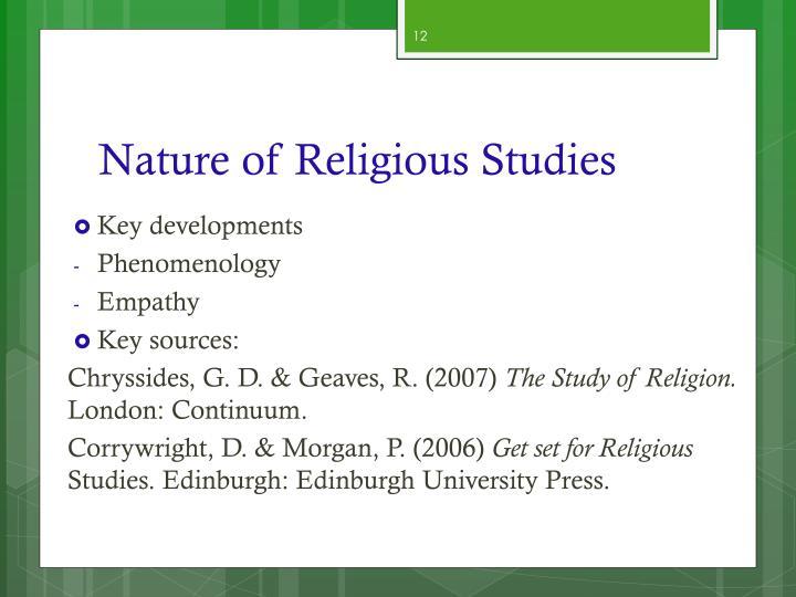 Nature of Religious Studies