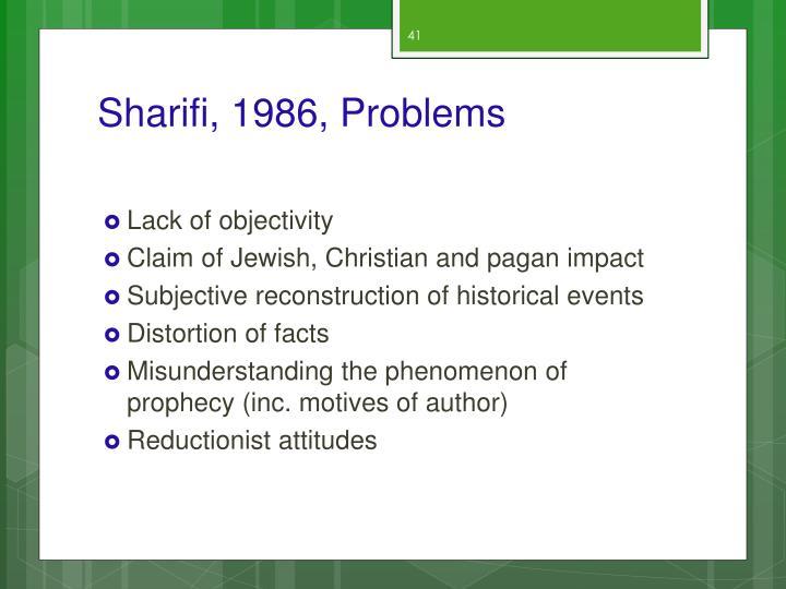 Sharifi, 1986, Problems