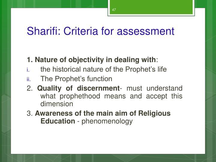 Sharifi: Criteria for assessment
