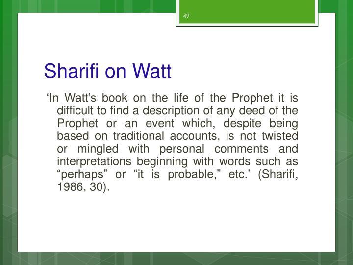Sharifi on Watt