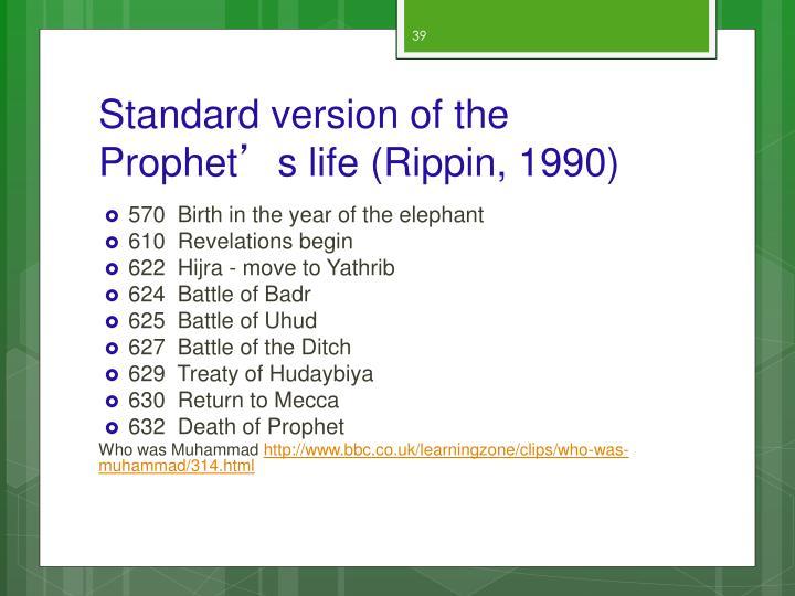 Standard version of the Prophet