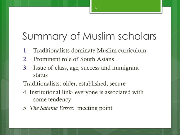 Summary of Muslim scholars