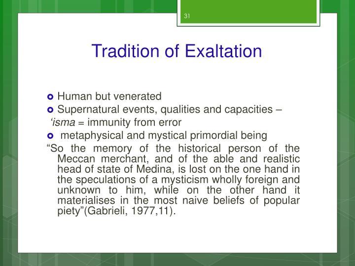 Tradition of Exaltation