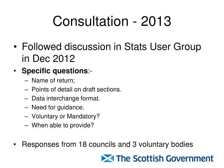 Consultation - 2013