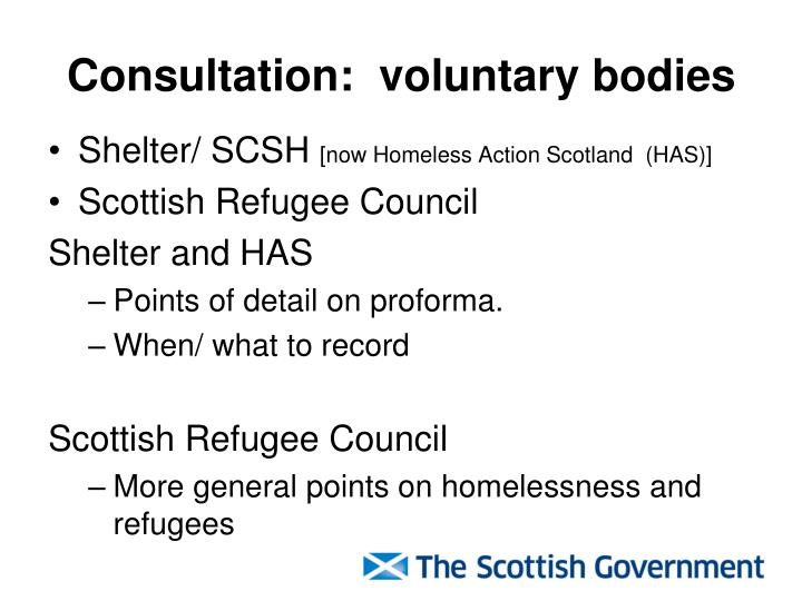 Consultation:  voluntary bodies