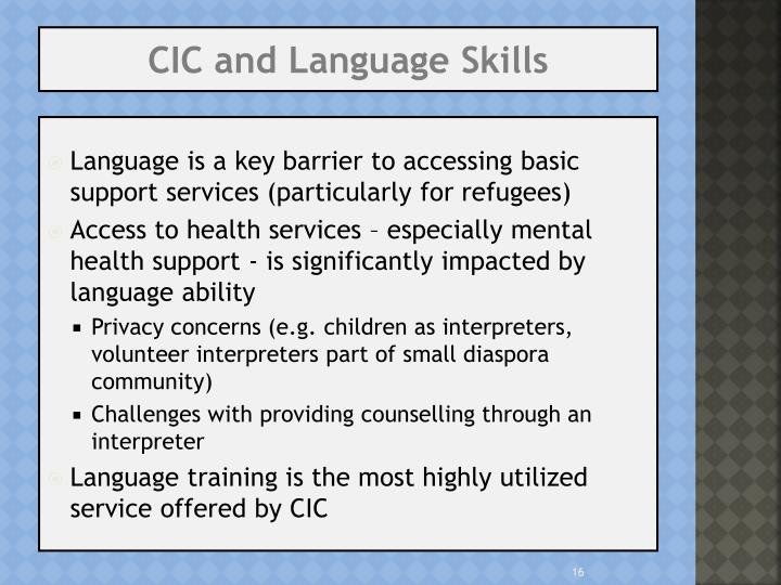 CIC and Language Skills