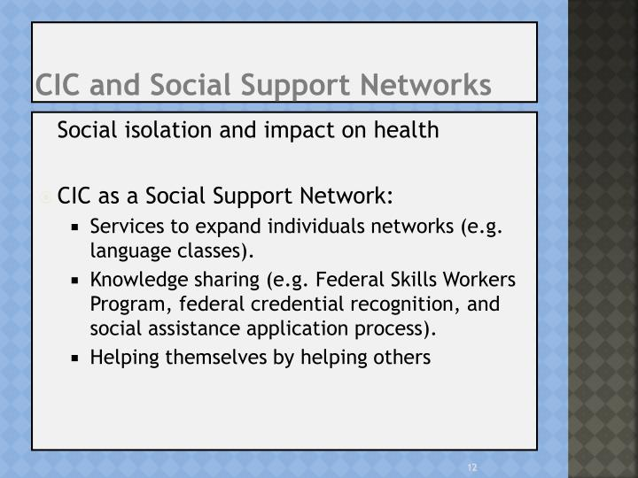 CIC and Social Support Networks
