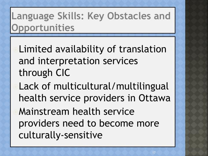 Language Skills: Key Obstacles and Opportunities