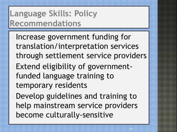 Language Skills: Policy Recommendations