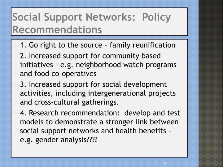 Social Support Networks:  Policy Recommendations