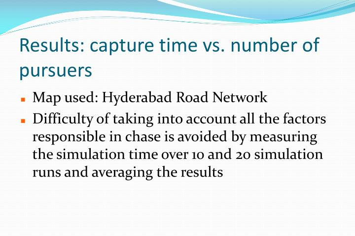 Results: capture time vs. number of pursuers