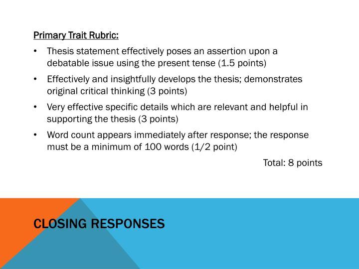 Closing Responses
