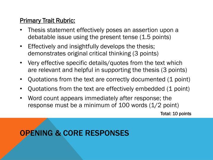 Opening & Core Responses