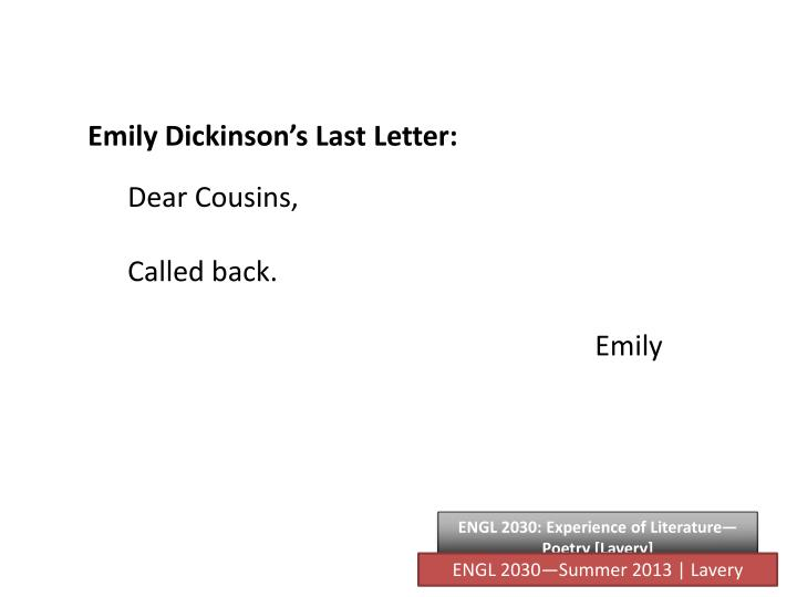 Emily Dickinson's Last Letter: