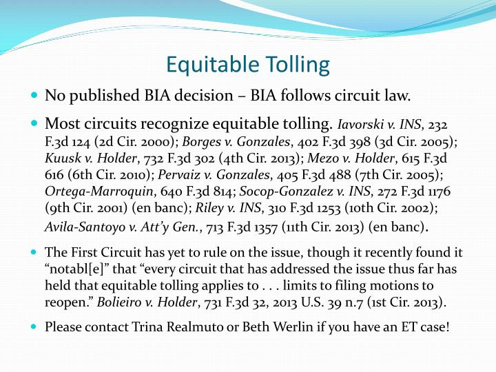 Equitable Tolling