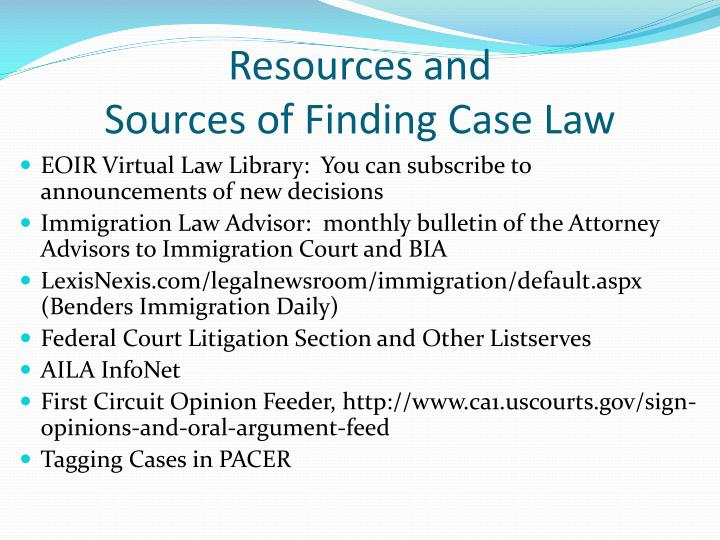 Resources and sources of finding case law