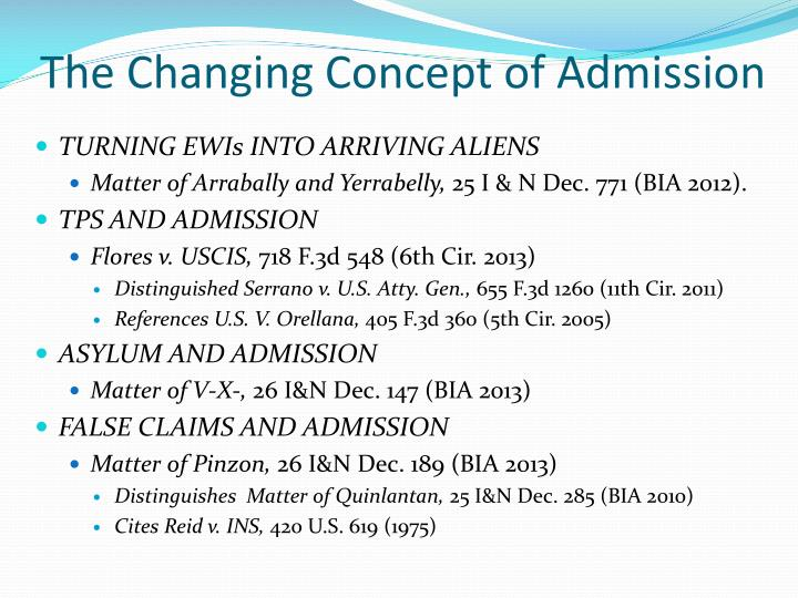 The Changing Concept of Admission