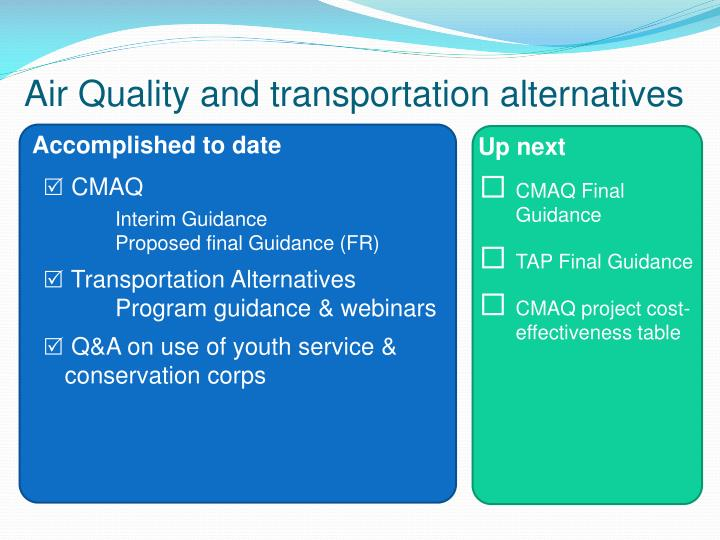 Air Quality and transportation alternatives