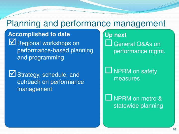 Planning and performance management